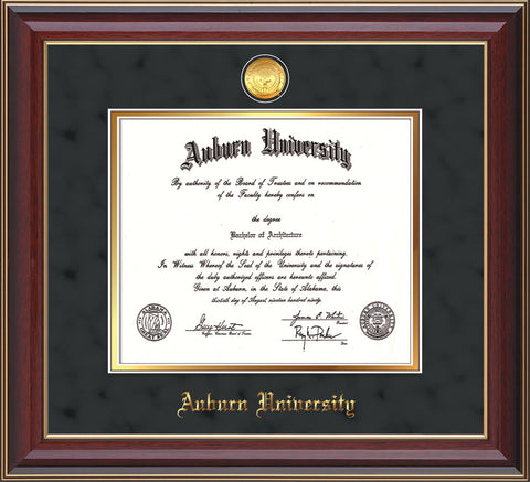 This is the Auburn University Diploma Frame - Cherry Lacquer - w/24k Gold-plated Medallion - Black Suede on Gold mat