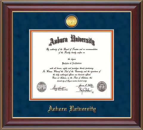 This is the Auburn University Diploma Frame - Cherry Lacquer - w/24k Gold-plated Medallion - Navy Suede on Orange mat