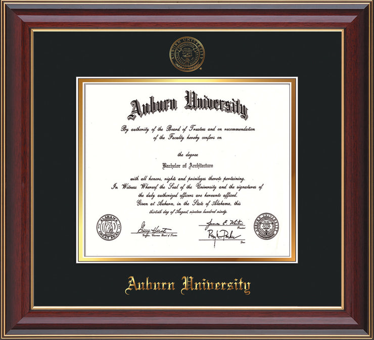 This is a Auburn University Diploma Frame - Cherry Lacquer - w/Embossed Seal & Name - Black on Gold mat
