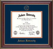This is a Auburn University Diploma Frame - Cherry Lacquer - w/Embossed Seal & Name - Navy on Orange mat