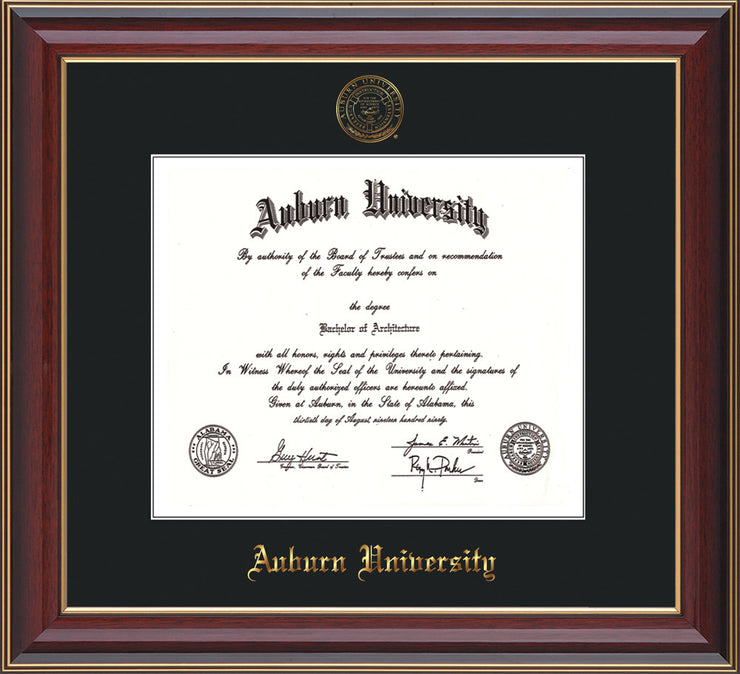 this is a Auburn University Diploma Frame - Cherry Lacquer - w/Embossed Seal & Name - Single Black Mat