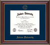 This is the Auburn University Diploma Frame - Cherry Lacquer - w/Embossed Seal & Name - Single Navy Mat