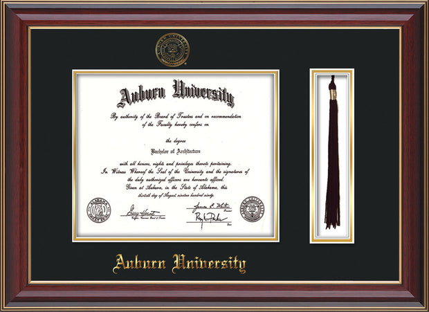 This is the Auburn University Diploma Frame - Cherry Lacquer - w/Embossed Seal & Name - Tassel Holder - Black on Gold mat