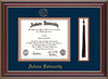 This is the Auburn University Diploma Frame - Cherry Lacquer - w/Embossed Seal & Name - Tassel Holder - Navy on Orange mat