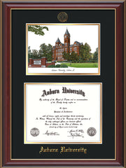 Image of the Auburn University Diploma Frame - Cherry Lacquer - w/Embossed Seal & Name - Campus Watercolor - Black on Gold mat