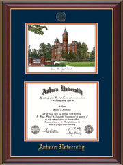 Image of the Auburn University Diploma Frame - Cherry Lacquer - w/Embossed Seal & Name - Campus Watercolor - Navy on Orange mat
