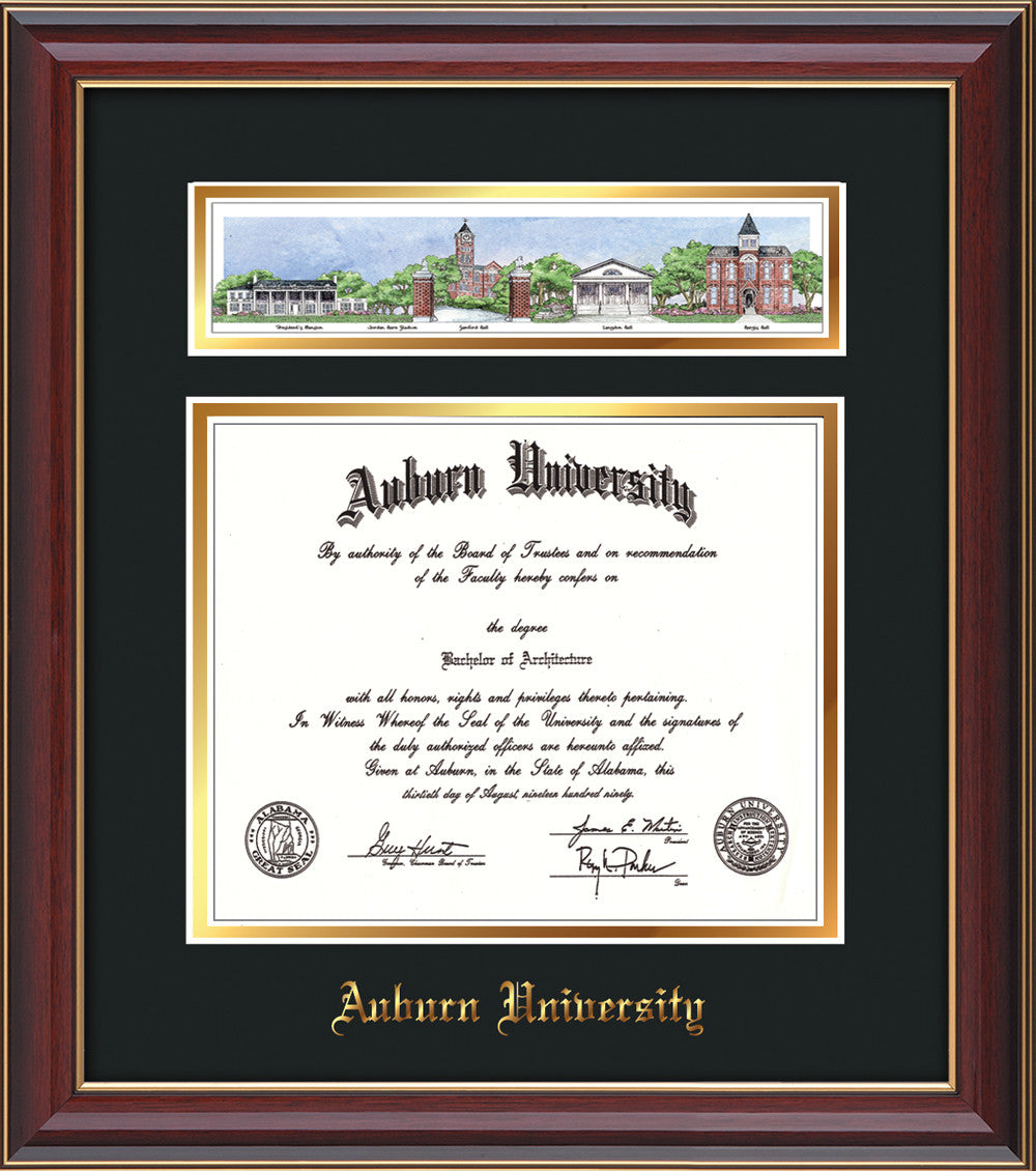Auburn Univ. Diploma Frame - Cherry L- Campus Collage - Black on ...