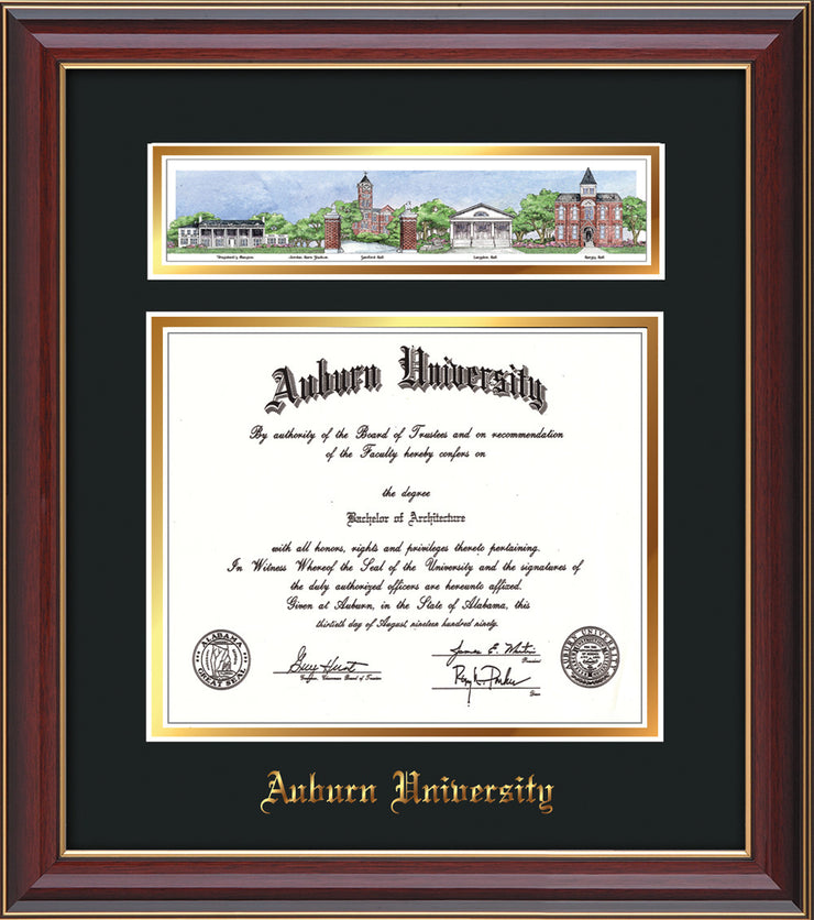 Image of the Auburn University Diploma Frame - Cherry Lacquer - w/Embossed School Name - Campus Collage - Black on Gold mat