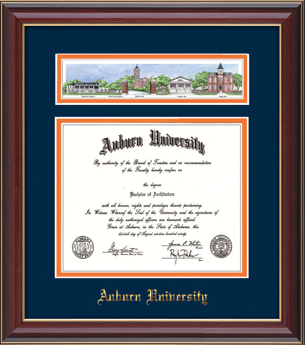 Image of the Auburn University Diploma Frame - Cherry Lacquer - w/Embossed School Name Only - Campus Collage - Navy on Orange mat