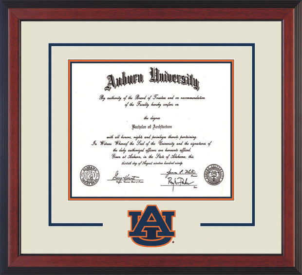 Image of Auburn University Diploma Frame - Cherry Reverse - w/Laser AU Logo Cutout - Cream on Navy on Orange mat