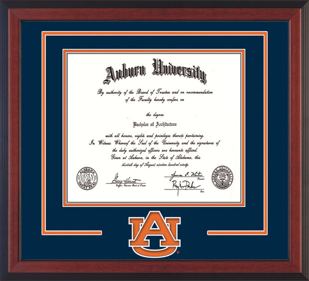 Image of Auburn University Diploma Frame - Cherry Reverse - w/Laser AU Logo Cutout - Navy on Orange mat