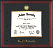 Image of Auburn University Diploma Frame - Cherry Reverse - w/24k Gold-plated Medallion - Black Suede on Gold mat