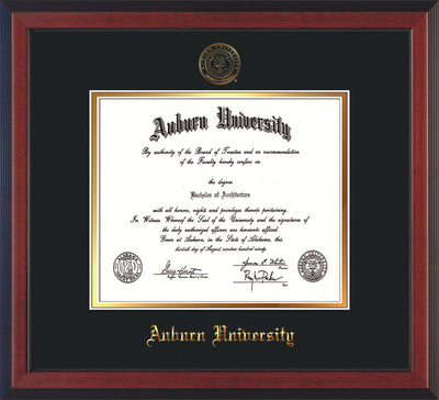 Image of Auburn University Diploma Frame - Cherry Reverse - w/Embossed Seal & Name - Black on Gold mat