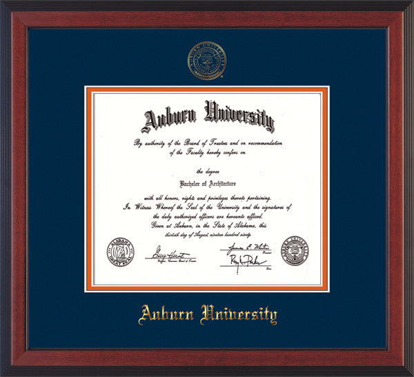 Image of Auburn University Diploma Frame - Cherry Reverse - w/Embossed Seal & Name - Navy on Orange mat