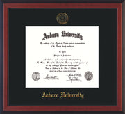 Image of Auburn University Diploma Frame - Cherry Reverse - w/Embossed Seal & Name - Single Black Mat
