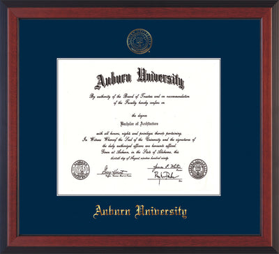 Image of Auburn University Diploma Frame - Cherry Reverse - w/Embossed Seal & Name - Single Navy Mat