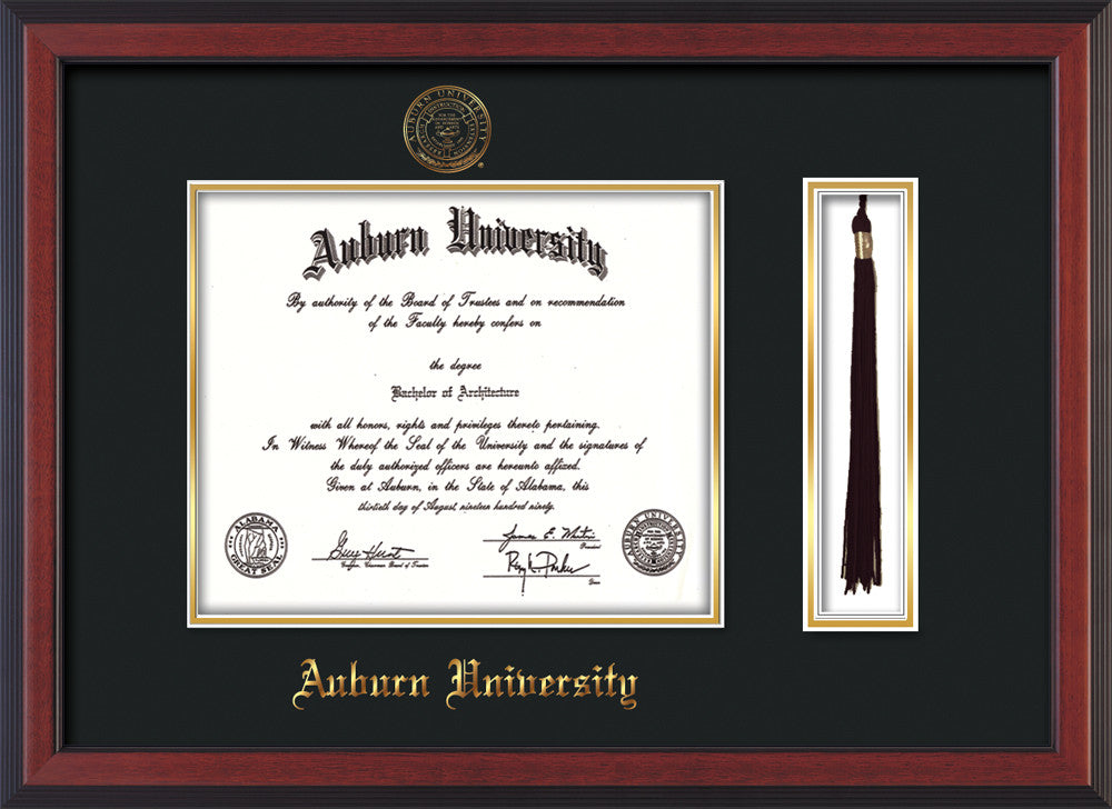 image of auburn university diploma frame cherry reverse wembossed seal name
