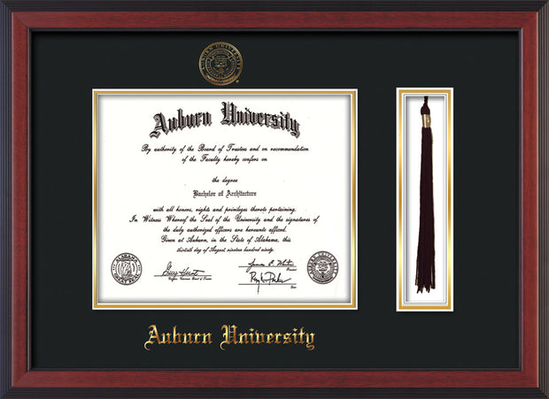 Image of Auburn University Diploma Frame - Cherry Reverse - w/Embossed Seal & Name - Tassel Holder - Black on Gold mat
