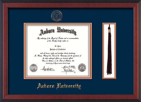 Image of Auburn University Diploma Frame - Cherry Reverse - w/Embossed Seal & Name - Tassel Holder - Navy on Orange mat