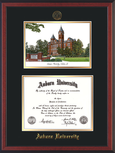 Image of Auburn University Diploma Frame - Cherry Reverse - w/Embossed Seal & Name - Campus Watercolor - Black on Gold mat
