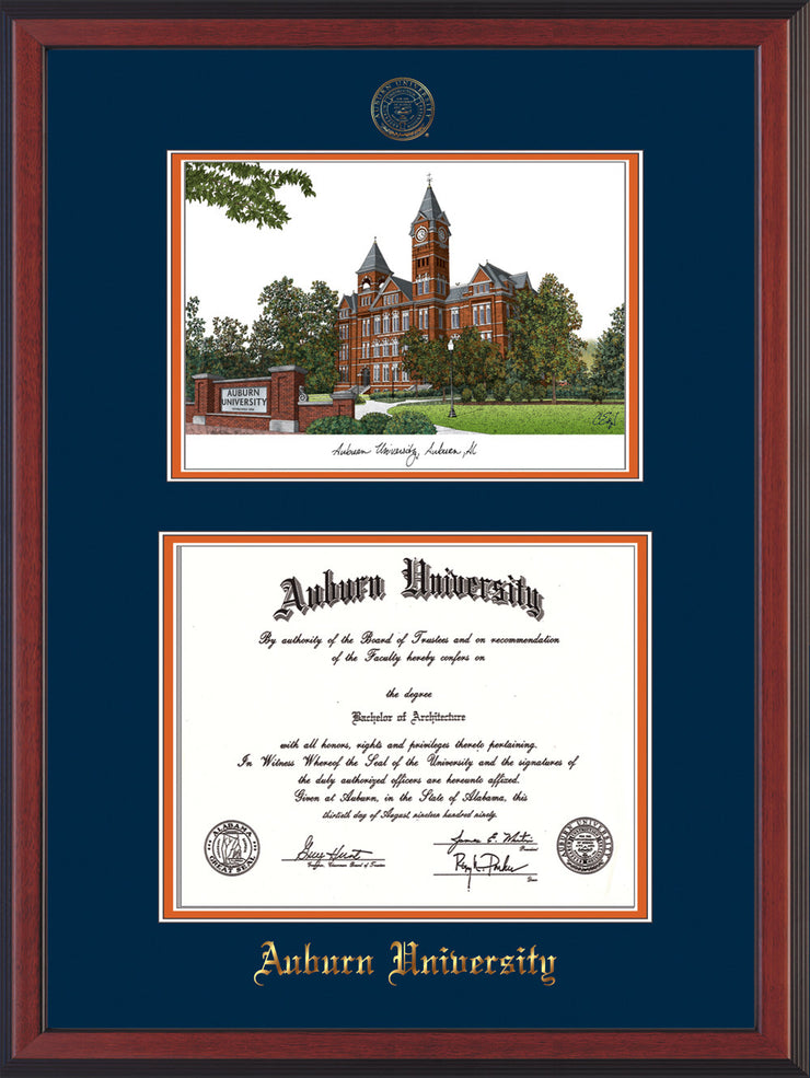 Image of uburn University Diploma Frame - Cherry Reverse - w/Embossed Seal & Name - Campus Watercolor - Navy on Orange mat