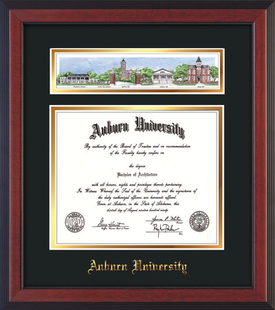 Image of Auburn University Diploma Frame - Cherry Reverse - w/Embossed School Name Only - Campus Collage - Black on Gold mat