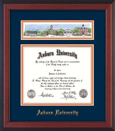 Image of Auburn University Diploma Frame - Cherry Reverse - w/Embossed School Name Only - Campus Collage - Navy on Orange mat