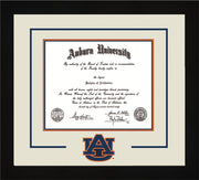 Image of Auburn University Diploma Frame - Flat Matte Black - w/Laser AU Logo Cutout - Cream on Navy on Orange mat