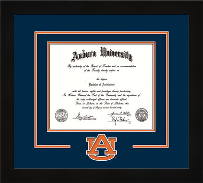 Image of Auburn University Diploma Frame - Flat Matte Black - w/Laser AU Logo Cutout - Navy on Orange mat