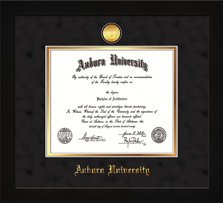 Image of Auburn University Diploma Frame - Flat Matte Black - w/24k Gold-plated Medallion - Black Suede on Gold mat