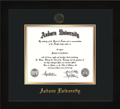 Image of Auburn University Diploma Frame - Flat Matte Black - w/Embossed Seal & Name - Black on Gold mat