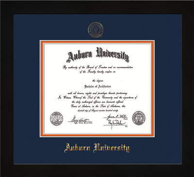 Image of Auburn University Diploma Frame - Flat Matte Black - w/Embossed Seal & Name - Navy on Orange mat