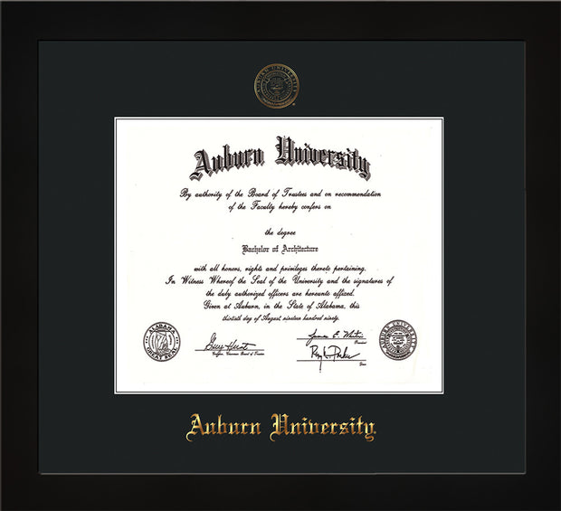 Image of Auburn University Diploma Frame - Flat Matte Black - w/Embossed Seal & Name - Single Black Mat