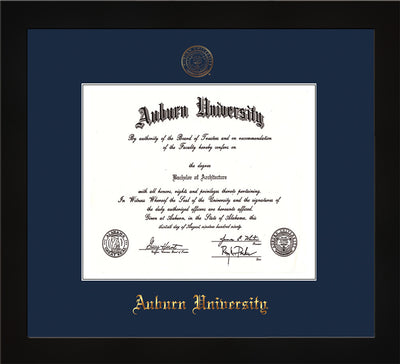 Image of Auburn University Diploma Frame - Flat Matte Black - w/Embossed Seal & Name - Single Navy Mat