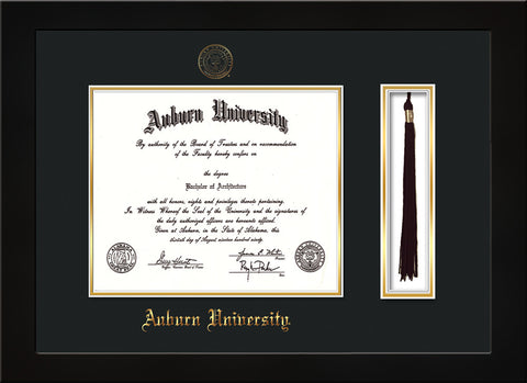 Image of Auburn University Diploma Frame - Flat Matte Black - w/Embossed Seal & Name - Tassel Holder - Black on Gold mat