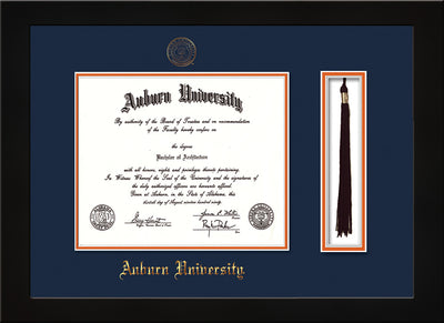 Image of Auburn University Diploma Frame - Flat Matte Black - w/Embossed Seal & Name - Tassel Holder - Navy on Orange mat