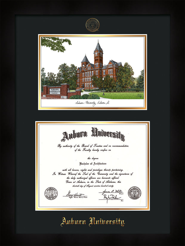 Image of Auburn University Diploma Frame - Flat Matte Black - w/Embossed Seal & Name - Campus Watercolor - Black on Gold mat
