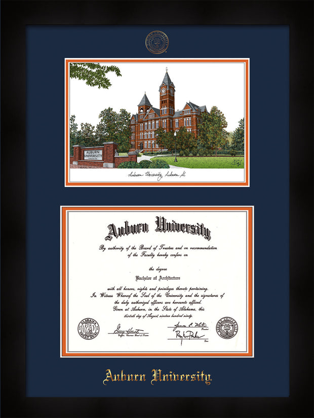 Image of Auburn University Diploma Frame - Flat Matte Black - w/Embossed Seal & Name - Campus Watercolor - Navy on Orange mat