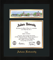 Image of Auburn University Diploma Frame - Flat Matte Black - w/Embossed School Name Only - Campus Collage - Black on Gold mat
