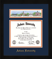 Image of Auburn University Diploma Frame - Flat Matte Black - w/Embossed School Name Only - Campus Collage - Navy on Orange mat