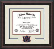 Image of Auburn University Diploma Frame - Mahogany Braid - w/Laser AU Logo Cutout - Cream on Navy on Orange mat
