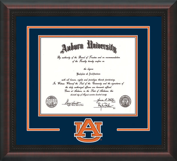 Image of Auburn University Diploma Frame - Mahogany Braid - w/Laser AU Logo Cutout - Navy on Orange mat