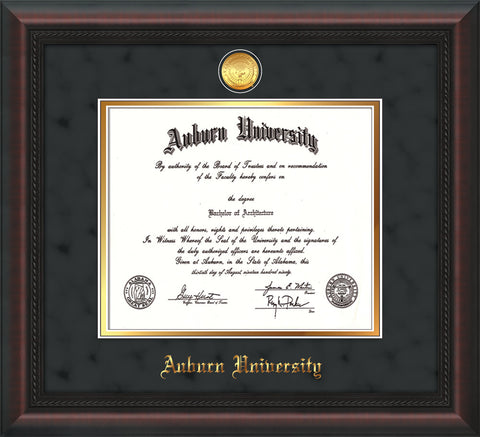 Image of Auburn University Diploma Frame - Mahogany Braid - w/24k Gold-plated Medallion - Black Suede on Gold mat