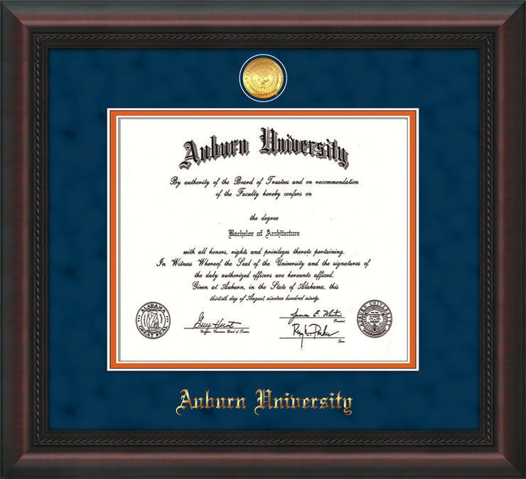 Image of Auburn University Diploma Frame - Mahogany Braid- w/24k Gold-plated Medallion - Navy Suede on Orange mat