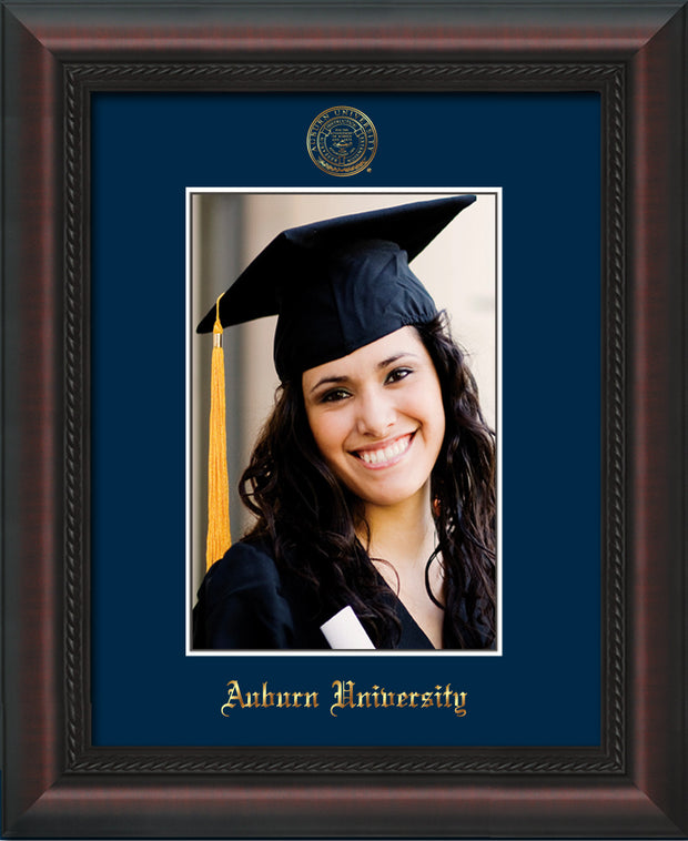 Image of Auburn University 5 x 7 Photo Frame  - Mahogany Braid - w/Official Embossing of AU Seal & Name - Single Navy mat