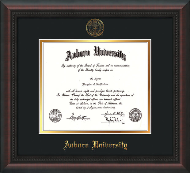 Image of Auburn University Diploma Frame - Mahogany Braid - w/Embossed Seal & Name - Black on Gold mat