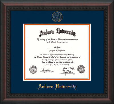 Image of Auburn University Diploma Frame - Mahogany Braid - w/Embossed Seal & Name - Navy on Orange mat