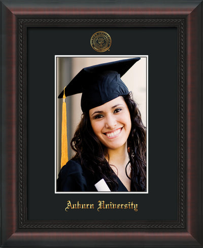 Image of Auburn University 5 x 7 Photo Frame  - Mahogany Braid - w/Official Embossing of AU Seal & Name - Single Black mat