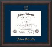 Image of Auburn University Diploma Frame - Mahogany Braid - w/Embossed Seal & Name - Single Navy Mat