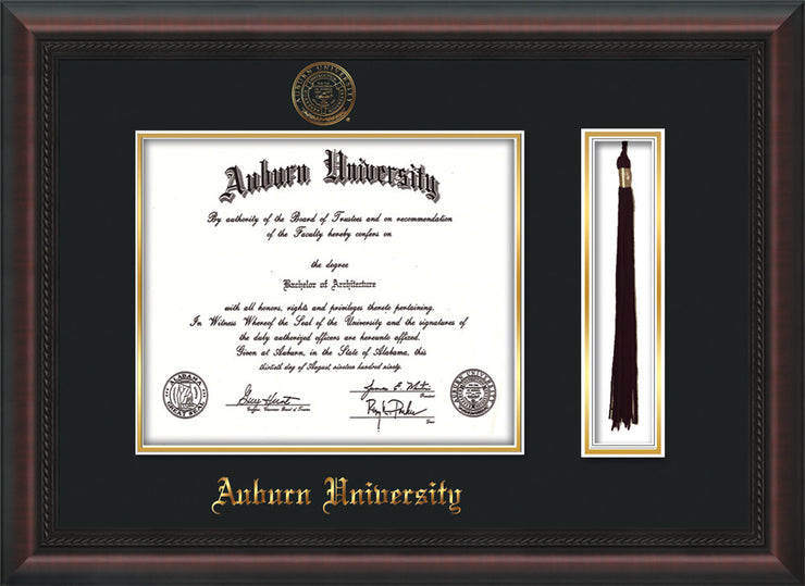Image of Auburn University Diploma Frame - Mahogany Braid - w/Embossed Seal & Name - Tassel Holder - Black on Gold mat